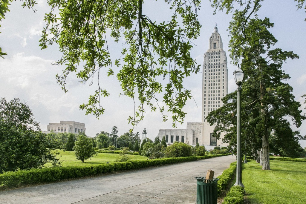 view of Baton Rouge skyline from a park