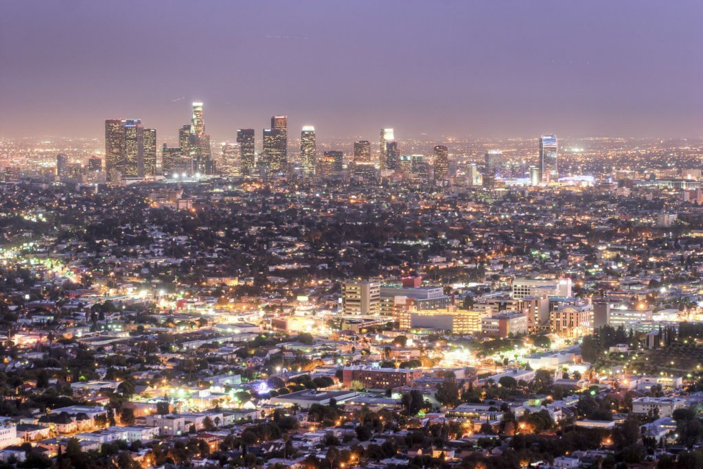 a sprawling view of Los Angeles at night